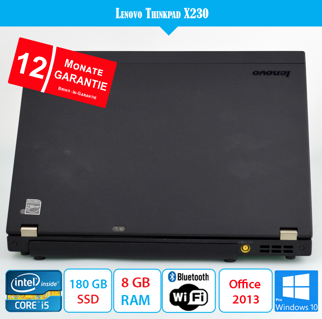 Lenovo ThinkPad X230 - 8 GB RAM - 180 GB SSD - Office 2013 -Win10 mit Garantie
