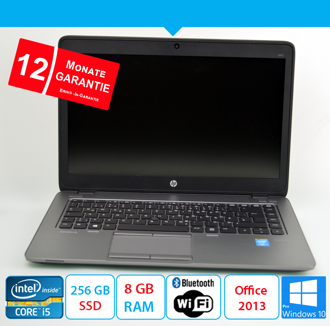 HP EliteBook 840 G2- 256 GB SSD - i5 2.30 GHz - 8 GB DDR3 - Office 2013 - Win10